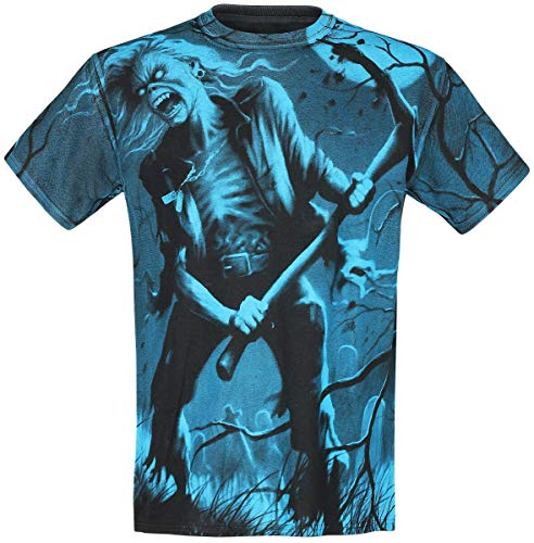 Iron Maiden Benjamin Breeg Allover Hombre Camiseta Estampado XL, 100% algodón, Regular
