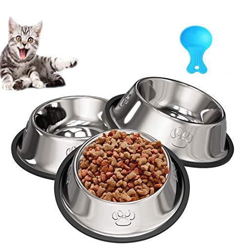 Katzennapf, Futternapf Katze - 3 Stück Katzennapf Edelstahl Rutschfest Katzen Napf Set, Fressnapf Katze Futterschüssel Katze - Katze Wasser Fütterung Schüssel für Katze Kleine Hunde Tiere (3PCS)