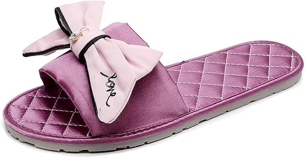 MIOKE Women's Bowknot Flat Slide Sandals Sweet Satin Comfort Soft Slip On Nonslip Indoor Home Slippers