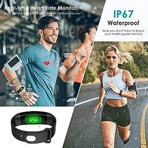 Mujeres Pulsera Deportiva Inteligente de Actividades Fitness Tracker Impermeable IP67 Monitor de Pulso Cardiaco Bluetooth con Contador de Calorias y Pasos/Reloj para iOS y Android (Negro y Rojo)