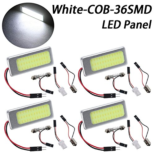 TABEN 2pcs super blanco bajo consumo COB 36-SMD LED placa de luz auto coche interior lectura luz de cúpula de Panel Techo Lámpara de techo interior con cable con T10/BA9S/Festoon adaptadores