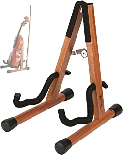 Neboic Ukulele Stand, Wood Violin Stand with bow holder, Wooden Stand for Mini Small Guitars, Banjo and Mandolin (Cherry)