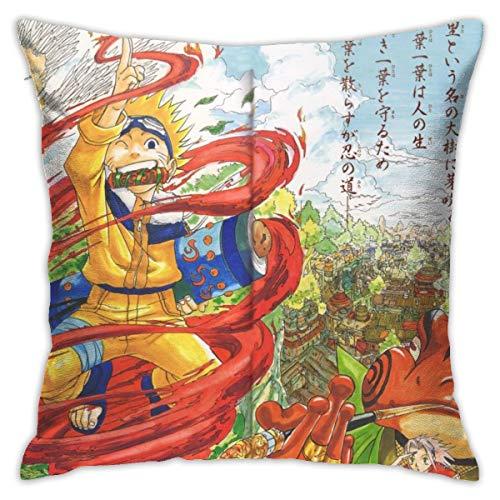 CVDGSAD Naruto Shippuuden Masashi Kishimoto Uzumaki Naruto Uchiha Sasuke Hatake Kakashi ArtworkIllustration - Funda de cojín decorativa de 45,7 x 45,7 cm