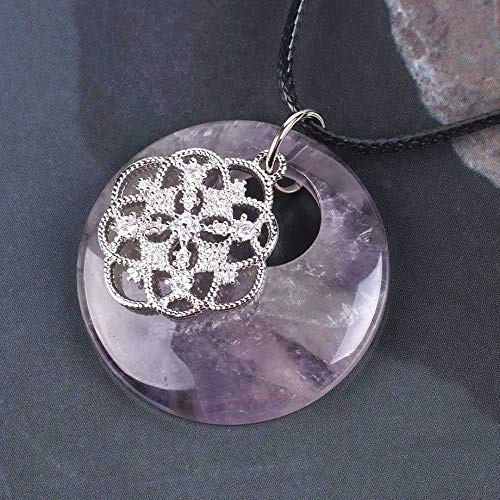 YOUHU Crystal Necklace Pendant,7 Chakra Crystal Necklaces Rhinestone Flower Natural Rose Red Veins Agate Pendant Charm Leather Chain Ladies Spiritual Jewelry Gift,Amethyst