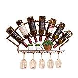 Sywlwxkq Organice el Metal del Estante del Vino montado en la Pared de la Cocina |Soporte para 7 Botellas de Vino |Botellero de Vino Estilo Retro Vintage |Estante de Almacenamiento de es