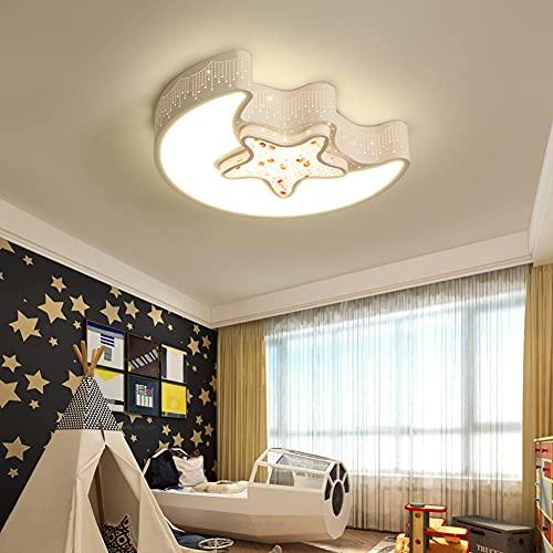 GDFGTH Lámpara de Techo LED, Creatividad Luces de la Estrella de la Luna Habitación Infantil Plafón Techo 6000K luz Blanca para guardería, habitación Infantil y Dormitorio