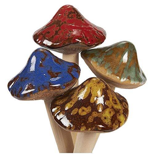 Ydh - 4 setas de jardín de cerámica para jardín, césped, decoración de plantas y setas