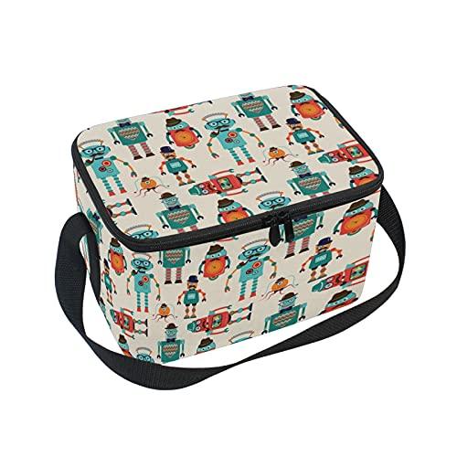 Bolsa de almuerzo aislada a prueba de fugas, diseño vintage de dibujos animados hipster robots, bolsa de almuerzo reutilizable, bolsa cruzada con correa para el hombro para...