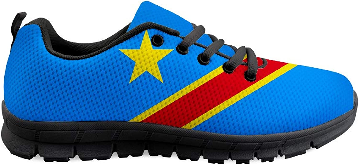 Owaheson Lace-up Sneaker Training shoes Mens Womens Democratic Republic of Congo Flag