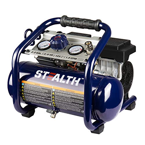 Stealth 2 Gallon Ultra Quiet Air Compressor, 3/4 HP Oil-Free...