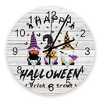 掛け時計 ハロウィン 小人 カボチャ 黒い猫 木の板 壁掛け時計 掛時計 静音 clock サイレント 壁時計 部屋 リビング 玄関 インテリア コンパクトサイズ 電池式 木掛け鐘 大数字 円形 贈り物 直径 30cm