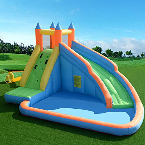 COSTWAY Inflatable Bouncy Castle Jumper House Water Pool Slide Activity Center for Kids with Water Slide, Climbing Wall and Pool Area, 400 x 250 x 300CM