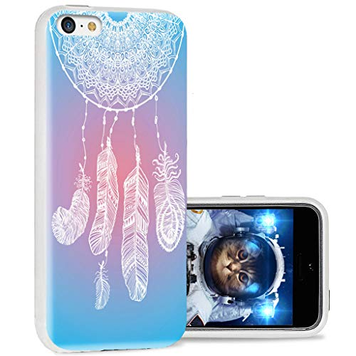 ChiChiC iPhone 5c case Cool, iPhone 5c case Cute, Full Protective Stylish Case Slim Durable Soft TPU Cases Cover for iPhone 5c,Abstract White Dream Catcher on Sky Blue Rose Background