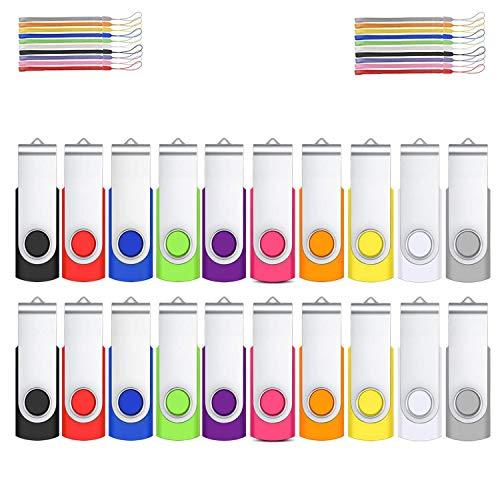 Lot Cle USB 1go 20 Mémoire Stick Rotatif par HOFOUND pour Ordinateur Portable/PC/Voiture/Console vidéo/Télévision,etc(10 Couleurs)