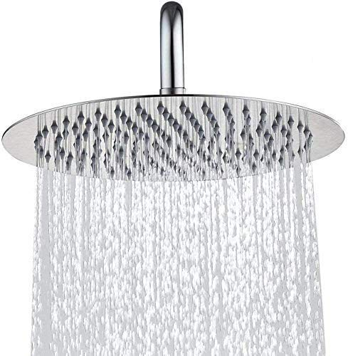KINBEDY 12 Inch Round Large Rainfall Fixed Shower Head High Pressure Chrome 304 Stainless Steel 360°Adjustable Easy to Clean and Install Fixed Shower Head Silicone Nozzle.