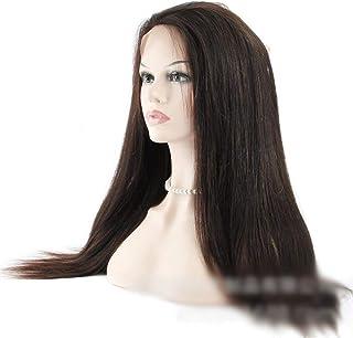 HOHYLLYA 360レース前頭閉鎖ブラジル人毛ストレートナチュラルブラックカラー(14インチ-20インチ)ロングストレートウィッグ (Color : ブラック, サイズ : 18 inch)