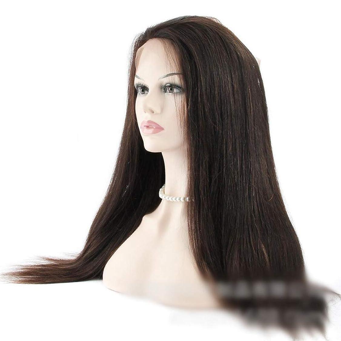 連帯貫通するのためにHOHYLLYA 360レース前頭閉鎖ブラジル人毛ストレートナチュラルブラックカラー(14インチ-20インチ)ロングストレートウィッグ (Color : ブラック, サイズ : 18 inch)