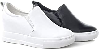 [GUREITO] スリッポン スニーカー レディース レザー ローファー パンプス インヒール 厚底 履きやすい 歩きやすい 柔軟 ソフト カワイイ 通気 柔らかい 弾力性 クッション性 白 黒