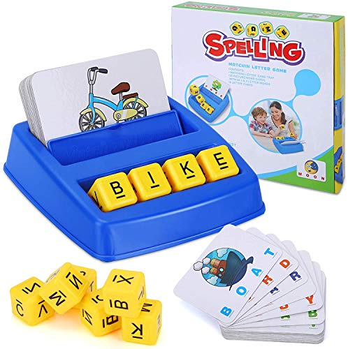 Matching Letter Games for Kids Ages 35 Learning Educational Toys for 3 4 5 6 Year Old Boys GirlsBirthday Gifts for 38 Yr Old Preschool Kindergarten Boy Girl Spelling Word Toys Blue