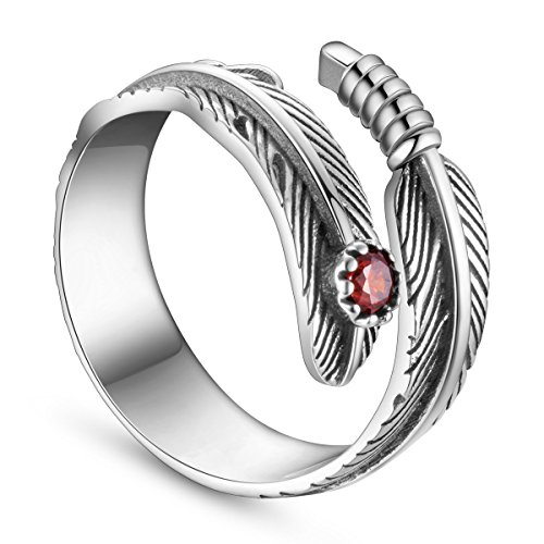 SHEGRACE 925 Sterling Silver Ring Antique Feather with Red Zircon Adjustable 18mm for Girls