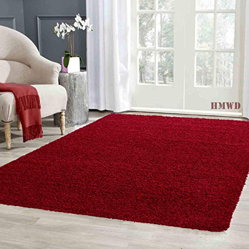 HMWD X Large Small Fluffy Shaggy Large Area Rug Thick Pile Hallway Runner Non Slip Living Room Bedroom Non-Shed Floor Carpet- Available in 6 Exquisite Colors (Red, 60x110 cm)