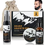 Beard Growth Kit, VIKICON Beard Care Kit with Beard Guard Beard Wash Beard Growth Oil Beard Balm Facial Hair & Mustache Growth Set Perfect Gifts for Man
