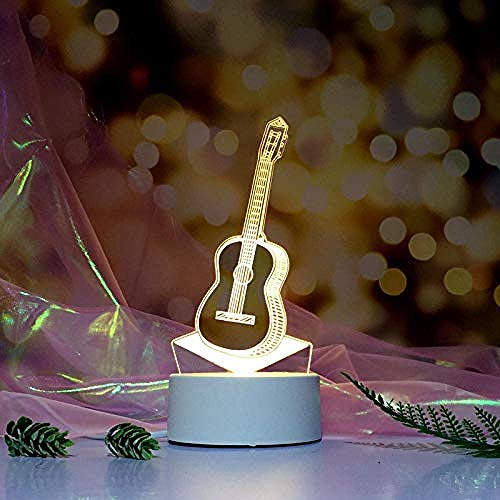 wangzj Guitarra Luz nocturna 3D Lámpara de mesilla Lámpara pequeña Luces interiores Lámpara de mesa de dormitorio Lámpara estéreo de cabecera