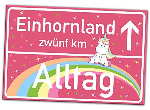EINHORN Schild - Rosa Ortsschild (30x20 cm) - Entfliehe der Realität vom Alltag ins Einhornland -...
