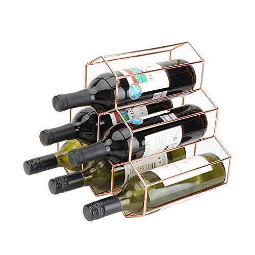 QuRong Repository Wijnrek met 6 flesjes, moderne metalen wijnrek, wijnrek, wijnrek en wijnrek, voor desktop, modern minimalistisch wijnrek