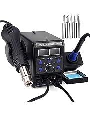 700W 2-in-1 soldeerstation, 8786D-I Hot Air Rework en soldeerboutstation met ° F / ° C, conversie van koele/hete lucht, digitale temperatuurcorrectie en slaapfunctie
