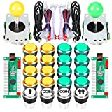EG STARTS Arcade DIY Kit Parts USB Encoder para PC Juegos 8 Way Joystick + 20x 5V Full Colors LED Botones iluminados para juegos Arcade Stick Mame & Raspberry Pi 2 3 3B (Amarillo + Verde)