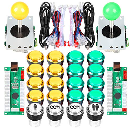 EG STARTS Arcade DIY Kit Parts USB Encoder to PC Games 8 Way Joystick + 20x 5V Full Colors LED Illuminated Push Buttons For Arcade Stick Games Mame & Raspberry Pi 2 3 3B ( Yellow + Green )