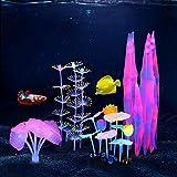 Lpraer 4 plantas artificiales para acuario, plantas luminosas, incluye anémonas de silicona, corales, algas marinas y hojas de loto, plantas acuáticas para peces, acuario (Set C)
