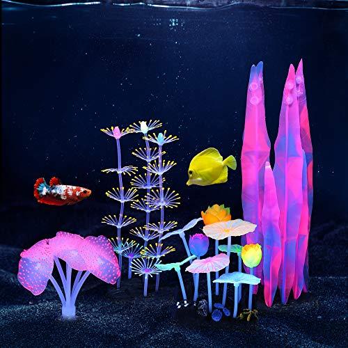 Lpraer Lot de 4 plantes d'aquarium lumineuses avec anémone de mer en silicone, corail rose et feuille de lotus, plantes aquatiques pour poissons, aquarium, paysage