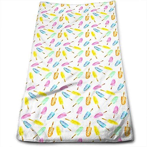 Bert-Collins Towel Belles sucettes glacées, personnalité de l'aquarelle Motif Amusant Serviettes de Visage Fibres superfines Super absorbantes Serviettes de Gym Douces