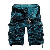 Elibone US Size 2019 New Camouflage Loose Cargo Shorts Men Cool Summer Military Camo Short Pants Homme Cargo Shorts,Blue,36