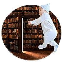 エリアラグ軽量 本棚の秘密の扉 フロアマットソフトカーペット直径27.6インチホームリビングダイニングルームベッドルーム