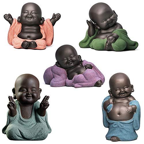 Estatuas de Buda con 5 estilos, estatuas de pequeño monje de cerámica de Buda escultura Feng Shui adornos decoración del hogar