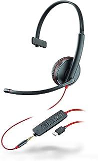 Plantronics Mono Headset 'Blackwire C3215' mit USB C & 3,5 mm Anschluss, Noise Cancelling, Soundguard und flexiblem Mikrofonarm, Schwarz