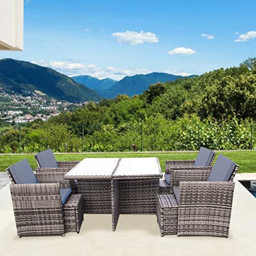 RedNeck Gartenmöbel Set 4er Sitzgruppe Dining Lounge Beige/Grau Polyrattan Aluminium Milchglas (Milchglas)