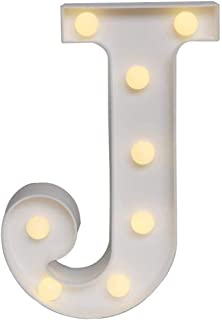 Sunnyglade White Marquee LED Alphabet Lights Arabic Numerals Lights for Party Home Bar Wedding Decor, Alphabet Wall Decoration Letter Lights (J)