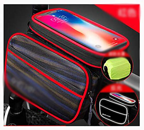 LJWLZFVT Bike Frame Bag Waterproof Bicycle Top Tube Handlebar Bag with Touch Screen Sun Visor Front Bike Phone Bag for Cellphone Below 65 Bicycle bag Reflective red oxford cloth 195x10x13cm
