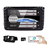 Hizpo Car Radio for Volkswagen/Skoda/Seat/Moniceiver/Naviceiver with GPS Navigation/Bluetooth Hands-Free Function 8 Inch Touchscreen/DVD/CD Player USB and SD/2 DIN Double Din Standard Size