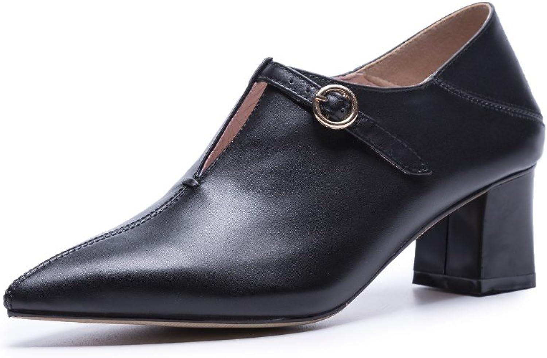 Nine Seven Genuine Leather Women's Pointed Toe Mid Chunky Heel Slip On Handmade Gorgeous Pumps