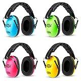 KiddyPlugs Kinder Kapsel Gehörschutz 4er Pack GRÜN + BLAU + PINK + GELB, Lärmschutz Kopfhörer Kinder, faltbar, größenverstellbar, weich gepolstert - auch für Jugendliche und Erwachsene