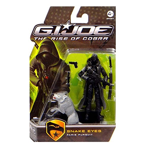 G.I. Joe The Rise of Cobra Movie Figure Snake Eyes (Paris Pursuit) with Gray Timber 3.75 Inch Scale
