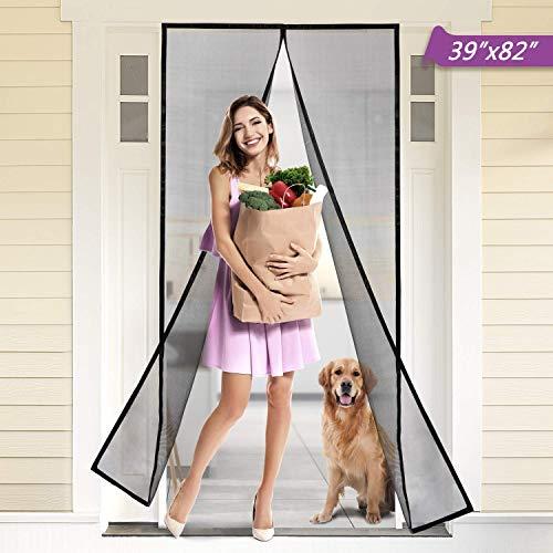 """Titan Mall Fiberglass Magnetic Screen Door with Durable Fiberglass Mesh Curtain and Full Frame Hook & Loop 39""""W x 82""""H Door Net Screen with Magnet Mosquito Screen Door Magnetic Black"""