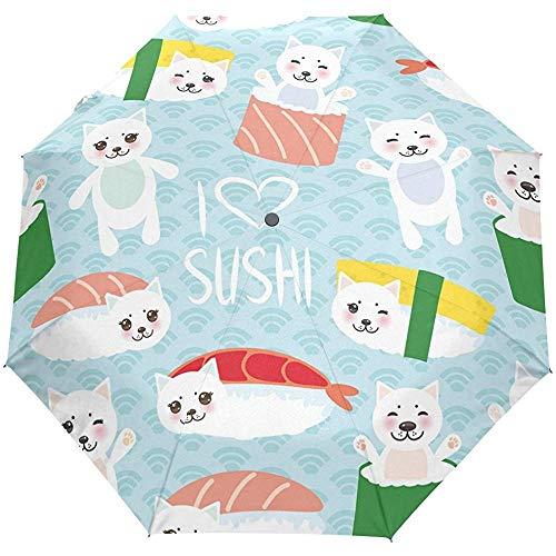 Süße japanische Sushi Auto Öffnen Schließen Regenschirme Anti UV Folding Compact Automatic Umbrella
