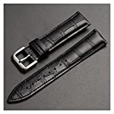 LINMAN Reemplazo Universal Top Capa de Cuero Reloj de Cuero Reloj de Cuero para Hombres Mujeres 10mm-24mm Watch Band (Band Color : Black Silver Buckle, tamaño : 22mm)