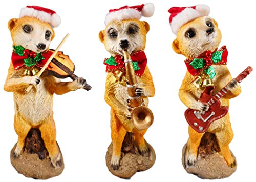 3er Set Weihnachten Erdmännchen Musik Gruppe Kapelle je 24 cm Trompete Geige Gitarre Garten Figur Deko GODE E25